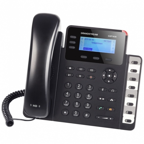 GXP-1630 Grandstream - IP telefon, LCD, 3x SIP účty, 3 linky, 2x RJ45 Gb, POE, HD audio, podsvíc. LCD, 8x BLF
