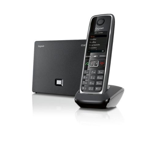 """GIGASET-C530IP Gigaset - bezdrátový IP telefon, 1,8"""" displej, až 6 SIP účtů, současně 3ext. + 1vnitřní hovor, černá"""