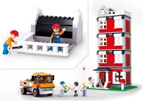 Sluban Town Stavitelé M38-B0555 Věžový jeřáb s domem a vozem
