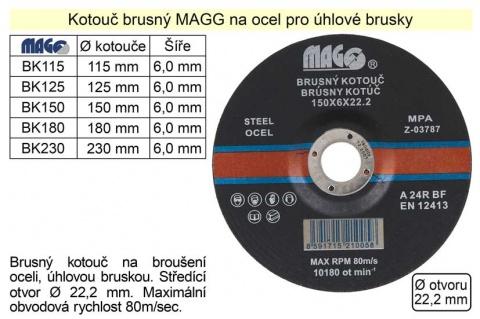 Kotouč brusný na ocel MAGG 115x6