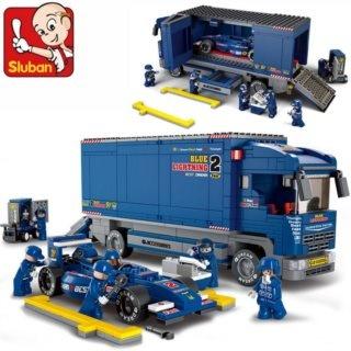Stavebnice SLUBAN Formule s přepravním vozem