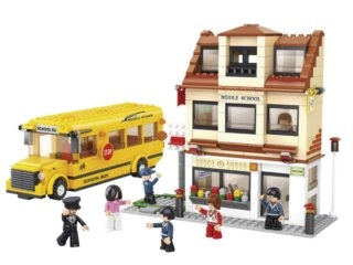Stavebnice SLUBAN Školní autobus a škola