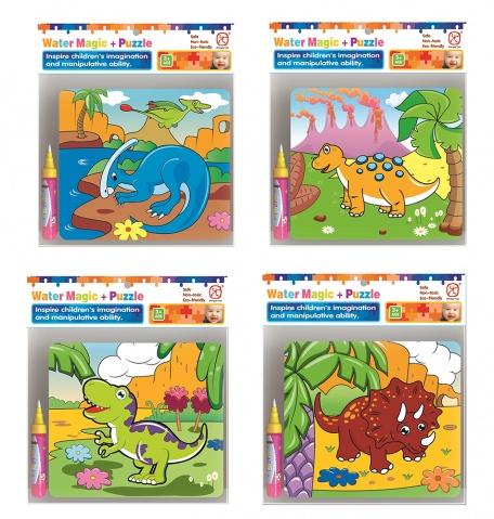 puzzle na vymalování vodou dino 6 druhů (od 3 let)