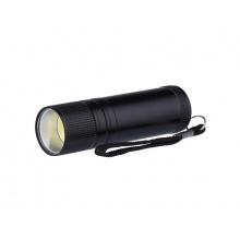 LED svítilna kovová, 3 W COB LED, na 3x AAA černá