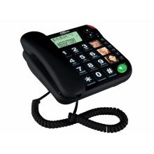 KXT480-CERNA Maxcom - šnůrový telefon s velkými tlačítky vhodný pro seniory, s LCD, barva černá
