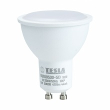 GU100530-5D Tesla - LED žárovka GU10, 5W, 230V, 400lm, 30 000h, 3000K teplá bílá, 100° stmívatelná