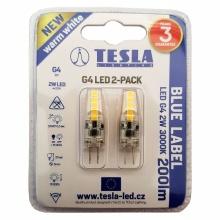 G4000230-5PACK Tesla - LED žárovka G4, 2W, 12V, 200lm, 15 000h, 3000K teplá bílá, 360° 2ks v balení