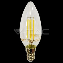 VT-1986D-4365 V-TAC LED žárovka E14 Crystal Retro, 4W, 230V, 320lm,  2700K teplá bílá, 300°, čirá stmívatelná