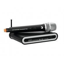 Omnitronic UHF-201 mikrofonní set - bezdrátový mikrofon + přijímač, 1 kanál, 863.420 MHz
