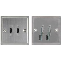 AV:link dvojitá HDMI zásuvka, ocelově stříbrná