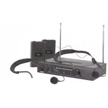 QTX VHF-HS2 mikrofonní set - 2x náhlavní mikrofon, 2x kapesní vysílač + přijímač, 174.1 + 175.0 MHz