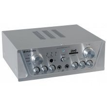 Karaoke zesilovač - FM / USB / SD, stříbrný