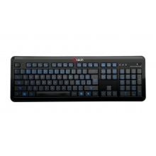 Klávesnice C-TECH OBK-04, kancelářská podsvícená klávesnice, modré podsvícení, černá, USB, CZ/SK