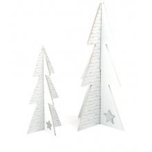 Small FootDřevěná dekorace vánoční stromeček bílý 2ks