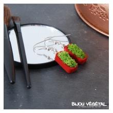 Živé šperky - Náušnice Vertigo červené s lišejníkem