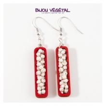 Živé šperky - Náušnice Jardiniere červené s trvalými bílými květy
