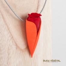 Živé šperky - Náhrdelník Tulipán mandarine s trvalou rudou růží