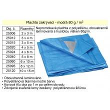Nepromokavá plachta modrá  8 x 12 m 80g/m