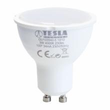 GU103540-5 Tesla - LED žárovka GU10, 3W, 230V, 230lm, 25 000h, 4000K studená bílá, 100°