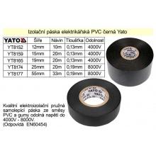 Izolační páska elektrikářská PVC šíře 19mm délka 20m černá Yato
