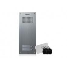 DR-2UM/RFID, Commax dveřní audiostanice pro systém 4+n se 2 tlačítky s integrovanou čtečkou