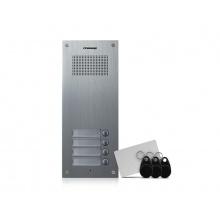 DR-4UM/RFID, Commax dveřní audiostanice pro systém 4+n se 4 tlačítky a integrovanou čtečkou