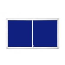 Interiérová vitrína s posuvnými dveřmi 97 x 70 cm (8xA4)  modrý filc
