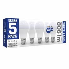 BL271030-5PACK Tesla - LED žárovka BULB E27, 10W, 230V, 806lm, 20 000h, 3000K teplá bílá, 240°