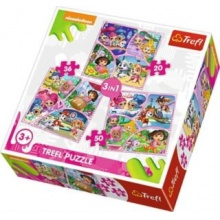 TREFL Puzzle Nickelodeon: Společná zábava 3v1 (20,36,50 dílků)