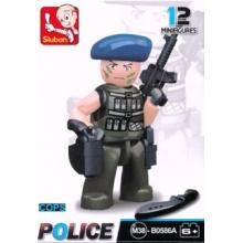Stavebnice SLUBAN Figurka Policista s modrým baretem