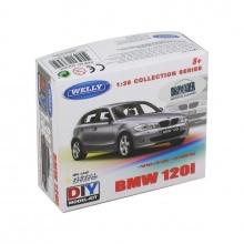 Welly BMW 120i 1:38 stříbrný kit stavebnice