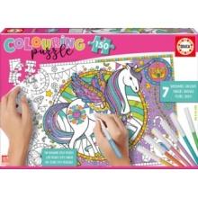 EDUCA Colouring puzzle Jednorožec 150 dílků s fixy