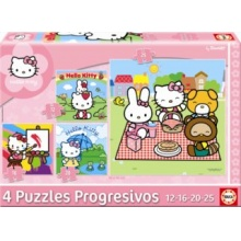 EDUCA Puzzle Hello Kitty 4v1 (12,16,20,25 dílků)