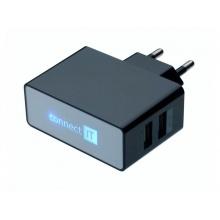 Adaptér síťový CONNECT IT CI-153 POWER CHARGER 2x USB port 2.1 A/1 A černý
