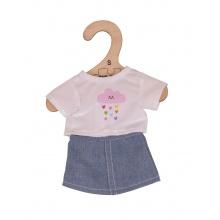 Bigjigs Toys Bílé tričko s riflovou sukní pro panenku velikosti 28cm