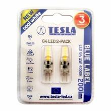 G4000240-PACK2 Tesla - LED žárovka G4, 2W, 12V, 200lm, 15 000h, 4000K studená bílá, 360° 2ks v balení