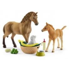 SCHLEICH Set hříbě a Quarter kůň se štěňátkem a doplňky