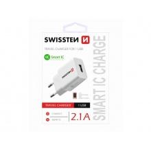 Adaptér síťový SWISSTEN SMART IC 1x USB 2,1A POWER BÍLÝ