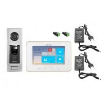 DS-KIS801SF, bezdrátová WiFi sada videotelefonu a dveřní stanice se čtečkou otisku prstu, Hikvision