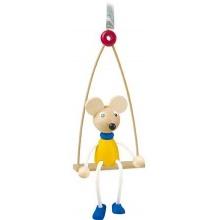 Dřevěné hračky na pružině - Myš na houpačce