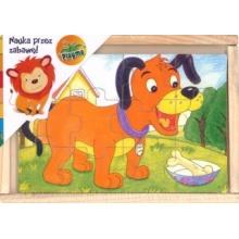 PLAYME Dřevěné puzzle Pejsek, kočička, koník a kohoutek 4x12 dílků