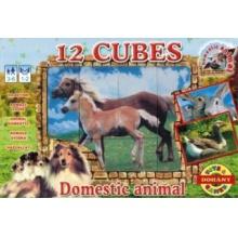 DOHÁNY Obrázkové kostky Zvířata na venkově, 12 kostek