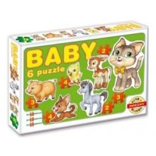 DOHÁNY Baby puzzle Domácí zvířata 6v1 (2-4 dílky)