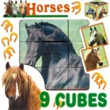 DOHÁNY Obrázkové kostky Koně, 9 kostek