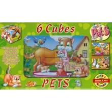 DOHÁNY Obrázkové kostky Domácí zvířata, 6 kostek