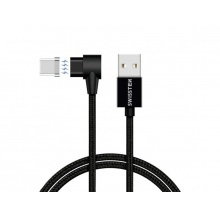 Kabel SWISSTEN magnetický textilní USB/USB-C 1,2M černý