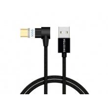 Kabel SWISSTEN magnetický textilní USB/micro USB 1,2M černý