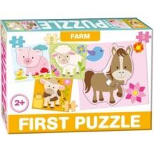 DOHÁNY Baby puzzle Na farmě 4v1 (3-5 dílky)