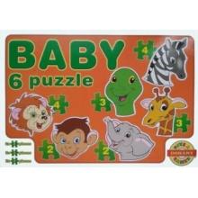 DOHÁNY Baby puzzle Zvířecí hlavičky - safari 6v1 (2-4 dílky)