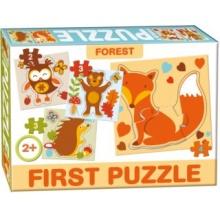 DOHÁNY Baby puzzle Lesní zvířata 4v1 (2-4 dílky)